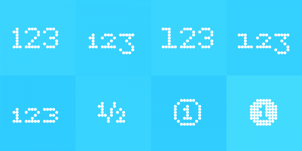 Pexico's numbers, clockwise from top left: Default (proportional lining), proportional oldstyle, tabular lining, tabular oldstyle, circled numbers, superscript & subscript (used also for automatic fractions), and small capital. https://www.setuptype.com/
